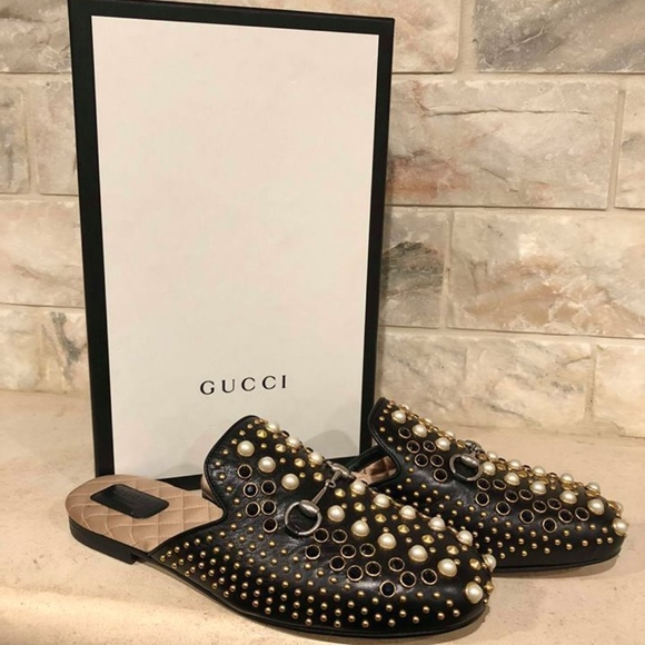 845217b9a3a Gucci Princetown Black Leather Pearl Stud Slide